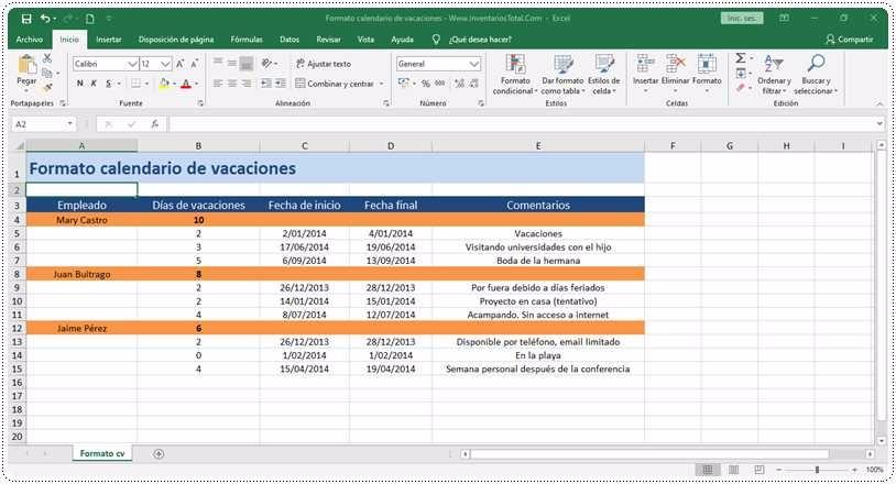 Formato calendario de vacaciones