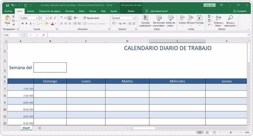Formato calendario diario de trabajo