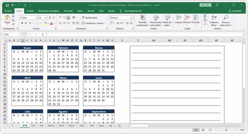 Formato calendario mensual de trabajo