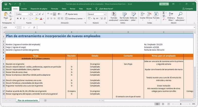 Formato plan de entrenamiento de los empleados