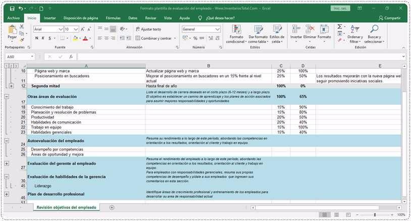 Formato plantilla de evaluación del empleado