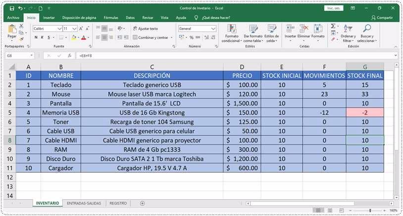 Inventario en Excel macros
