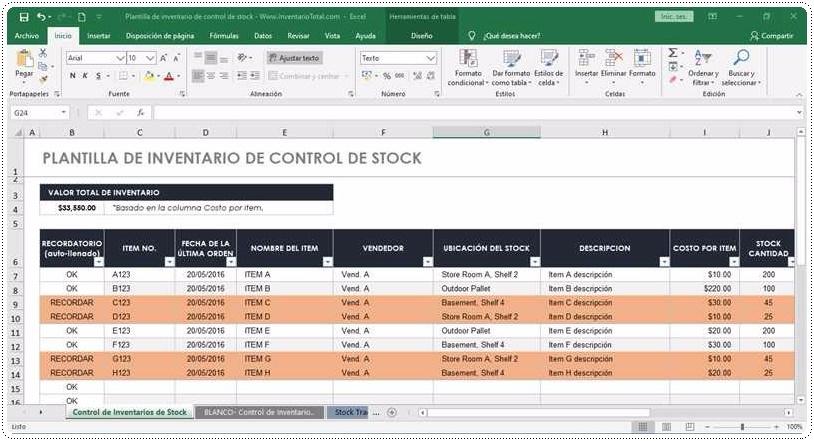 Plantilla de control de inventario de Stock1