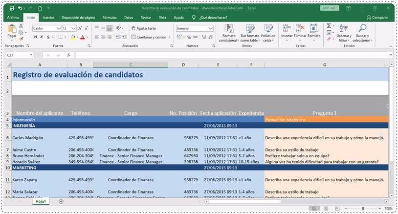 Registro de evaluación de candidatos