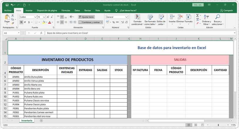Base de datos para inventario en Excel