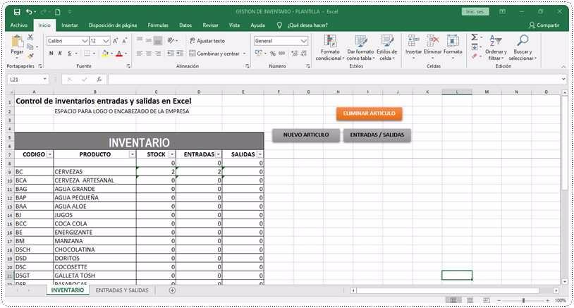 Control de inventarios entradas y salidas en Excel