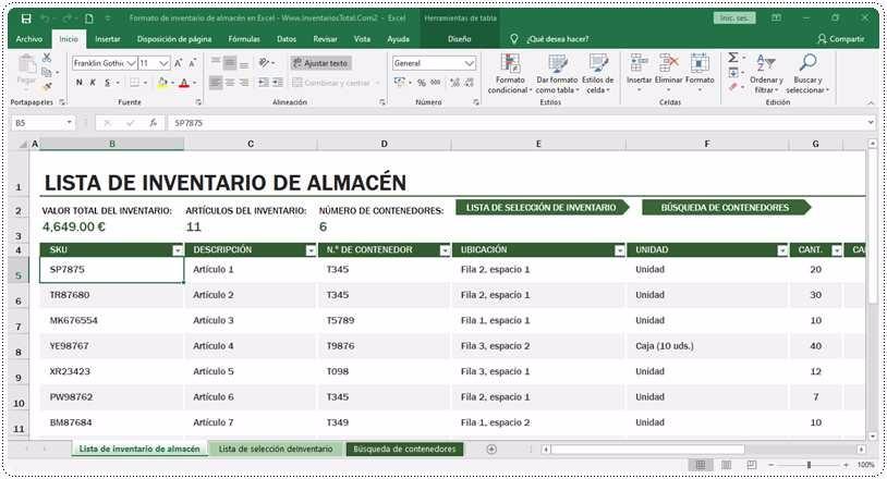 Formato de inventario de almacén en Excel