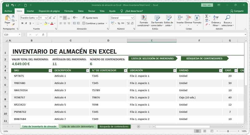 Inventario de almacén en Excel