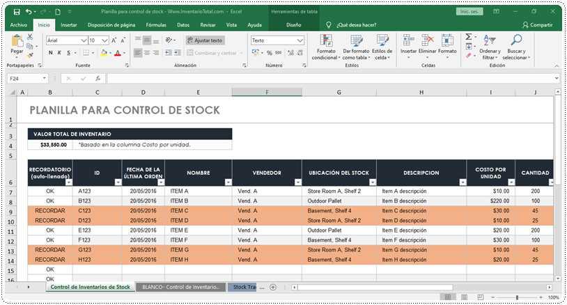 Planilla para control de stock