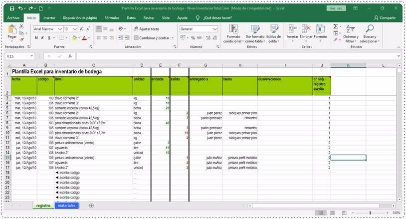 Plantilla Excel para inventario de bodega