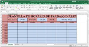 Plantilla de horario de trabajo diario en Excel