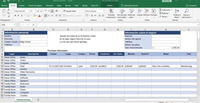 Descargar el inventario para hogar en Excel